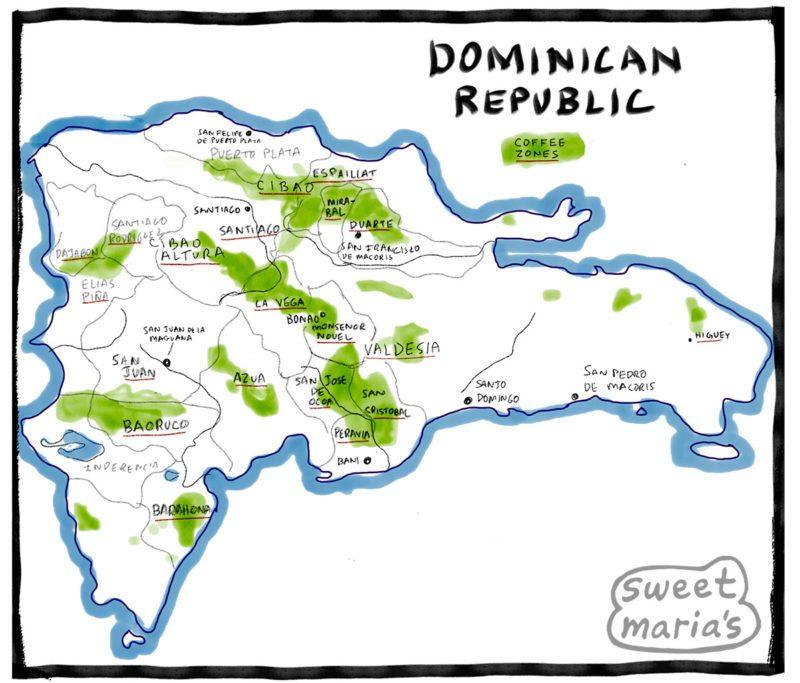 Dominican Republic Coffee Map Sweet Marias Coffee growing regions