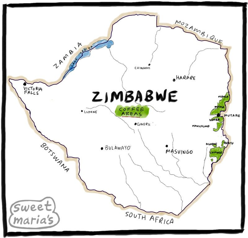 Zimbabwe Coffee Map Sweet Marias