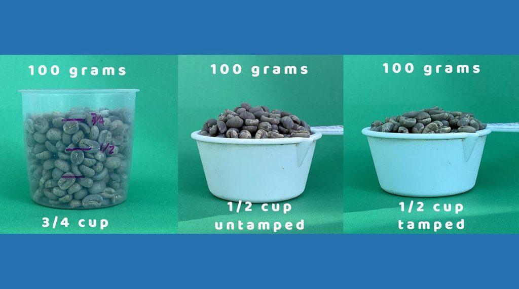 green coffee volume measurements