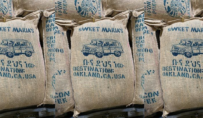 Green coffee jute bag from upcoming Buno Dambi Uddo lot stenciled with a drawing of Land Cruiser, a common site in Ethiopia.